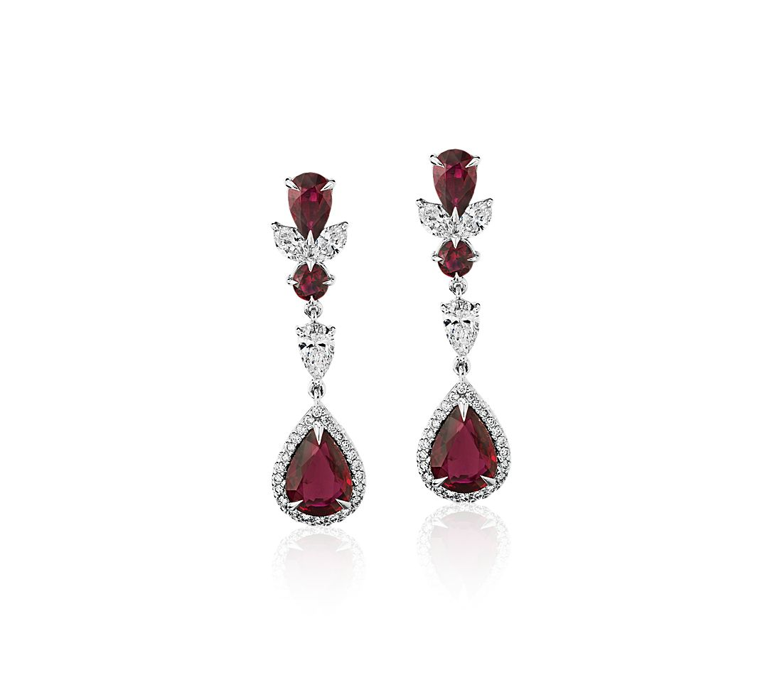 Pear-Shaped Ruby and Diamond Drop Earrings in 18k White Gold (8x6mm)