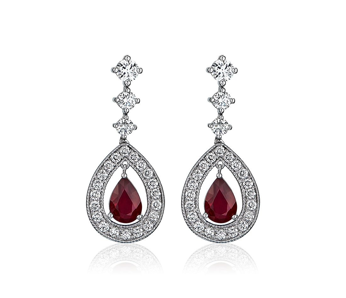 Pear Shaped Ruby Drop Earrings with Diamond halos set in 18k White Gold