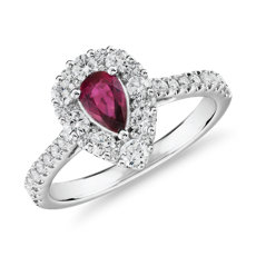 Pear-Shaped Ruby Ring with Diamond Halo in 14k White Gold (6x4mm)
