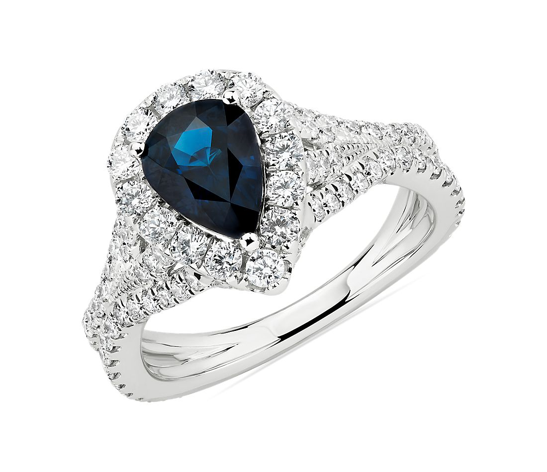 Pear-Shaped Sapphire and Diamond Ring in 14k White Gold