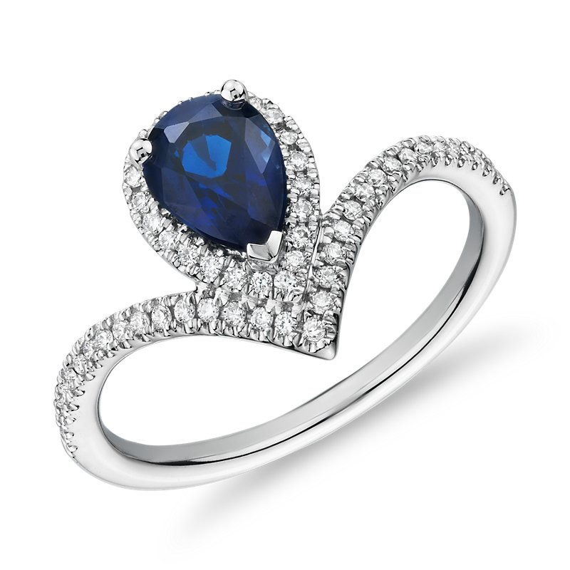 Pear-Shaped Sapphire and Diamond Halo Chevron Ring in 14k White G