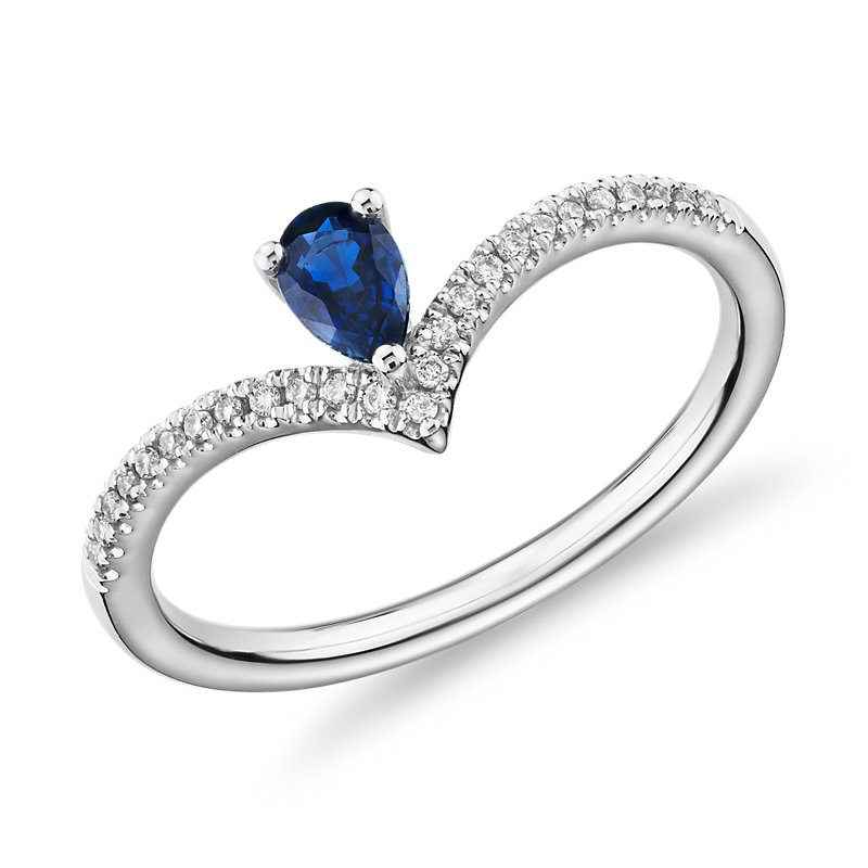 Pear-Shaped Sapphire and Diamond Chevron Ring in 14k White Gold (