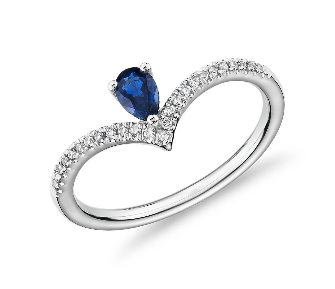 Pear-Shaped Sapphire and Diamond Chevron Ring in 14k White Gold (5x3mm)