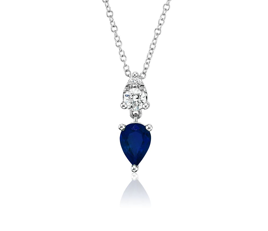 Pear-Shaped Sapphire and Diamond Drop Pendant in 14k White Gold (7x5mm)