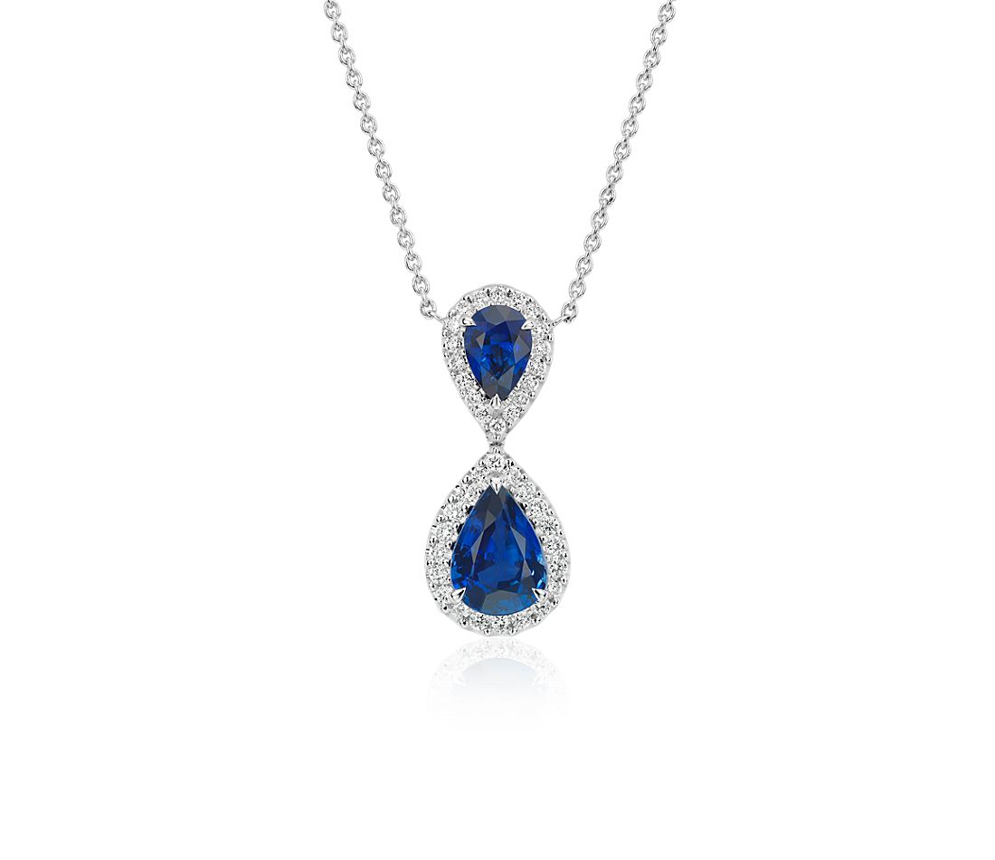 Pear-Shaped Sapphire and Diamond Classic Drop Pendant in