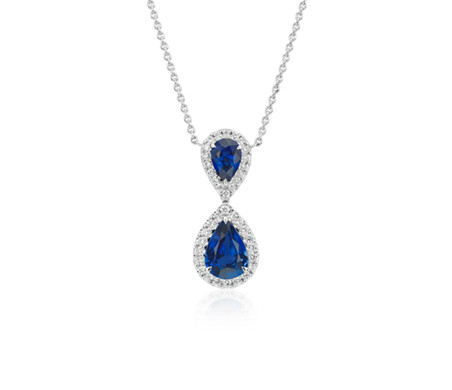 Blue Nile Pear-Shape Sapphire and Diamond Pendant in 18k White Gold (6x4mm)