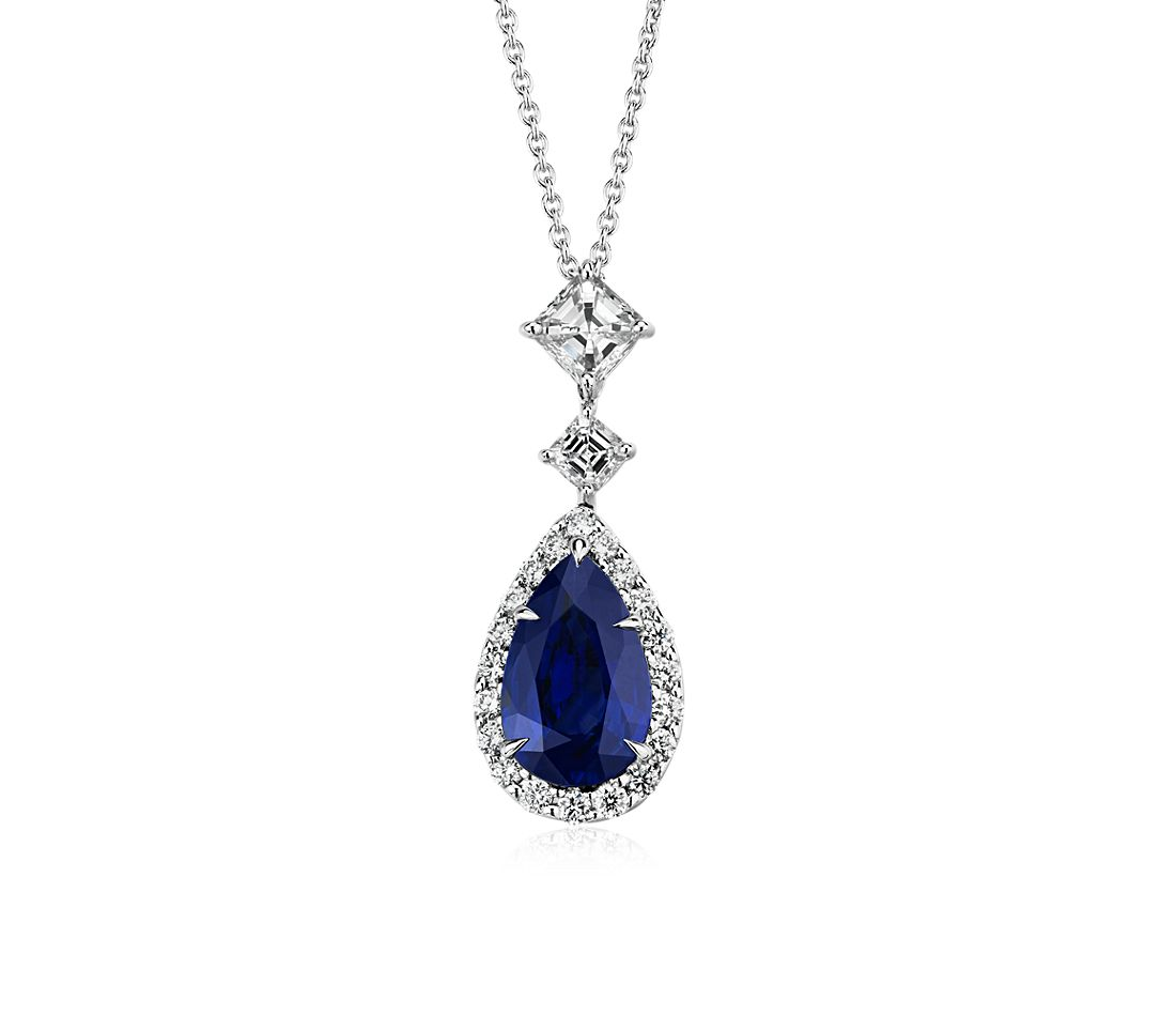 Pear-Shaped Sapphire Pendant with Asscher-Cut Diamond Drop in 18k White Gold (2.33 ct. centre)