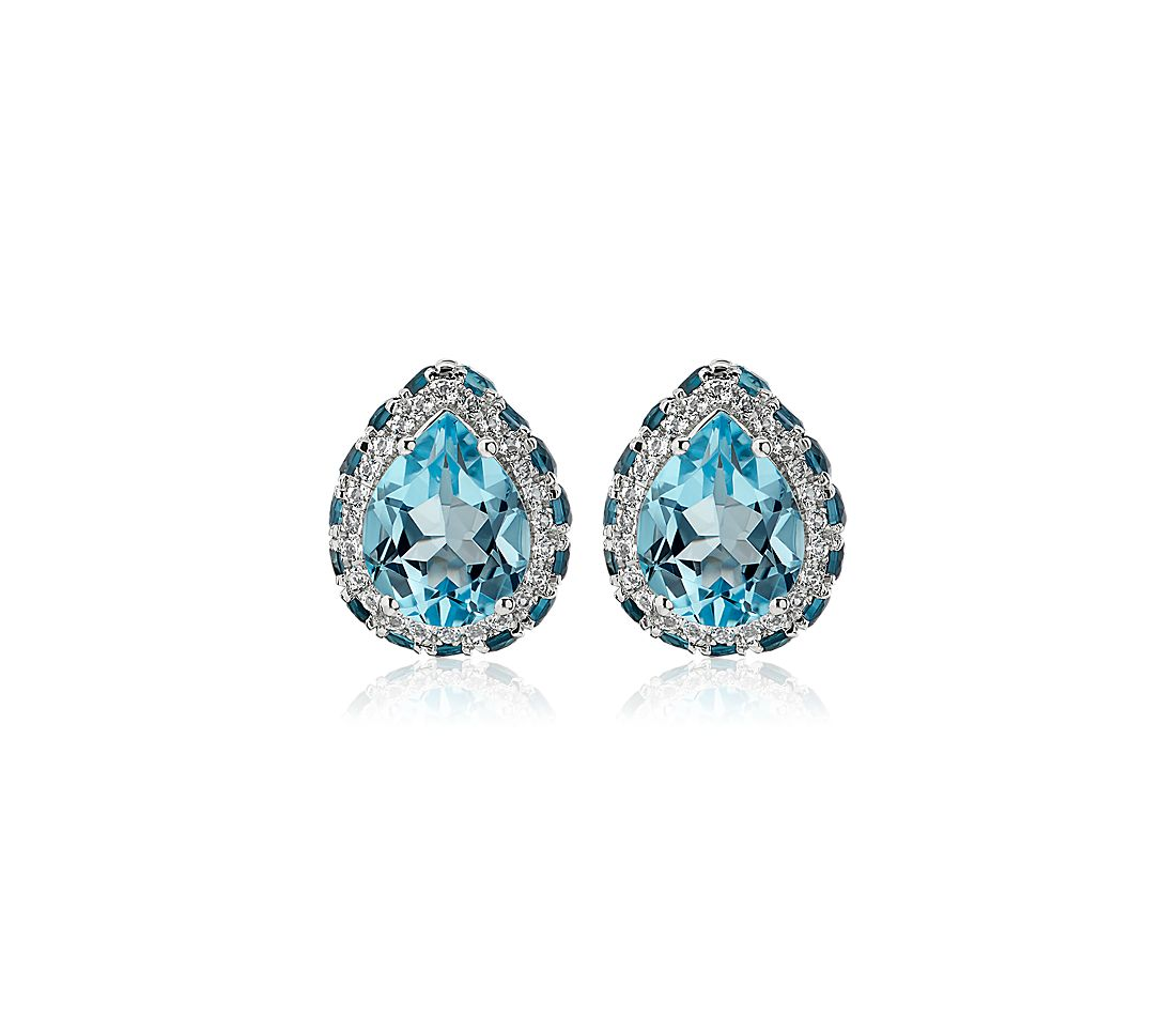 Pear Shaped Sky Blue Topaz Earrings in Sterling Silver with White Topaz