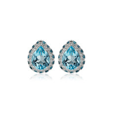 NEW Pear Shaped Sky Blue Topaz Earrings in Sterling Silver with White Topaz