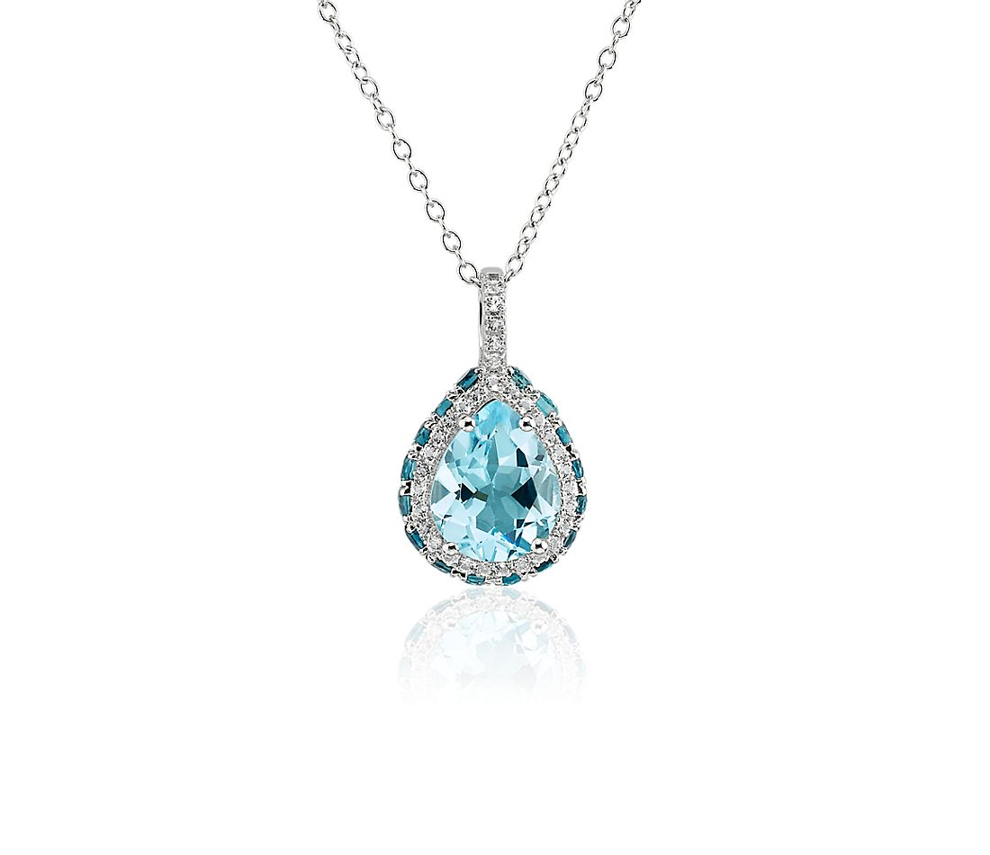 Pear Shaped Sky Blue Topaz Pendant in Sterling Silver with White Topaz