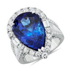 NEW Pear-Shaped Tanzanite and Diamond Ring 18k White Gold