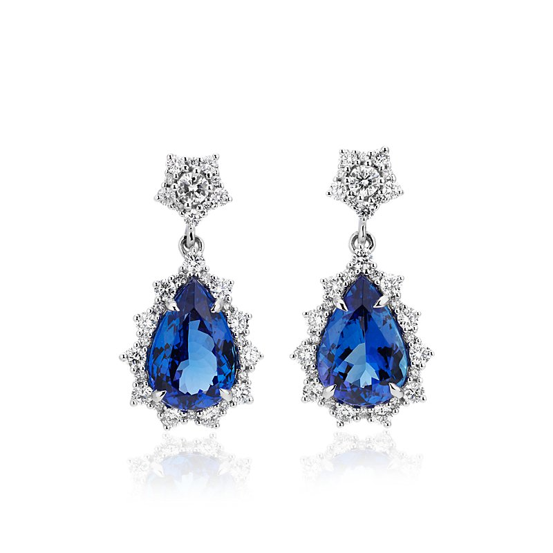 Pear-Shaped Tanzanite Drop Earrings with Diamond Sunburst Halo in