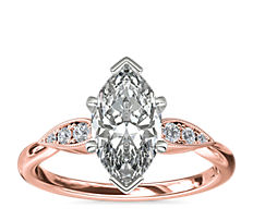 Pear-Shaped Diamond Detail Engagement Ring in 14k Rose Gold
