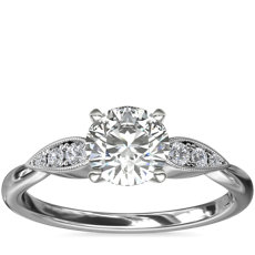 Pear-Shaped Diamond Detail Engagement Ring in 14k White Gold
