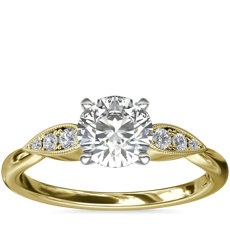 Pear-Shaped Diamond Detail Engagement Ring in 14k Yellow Gold