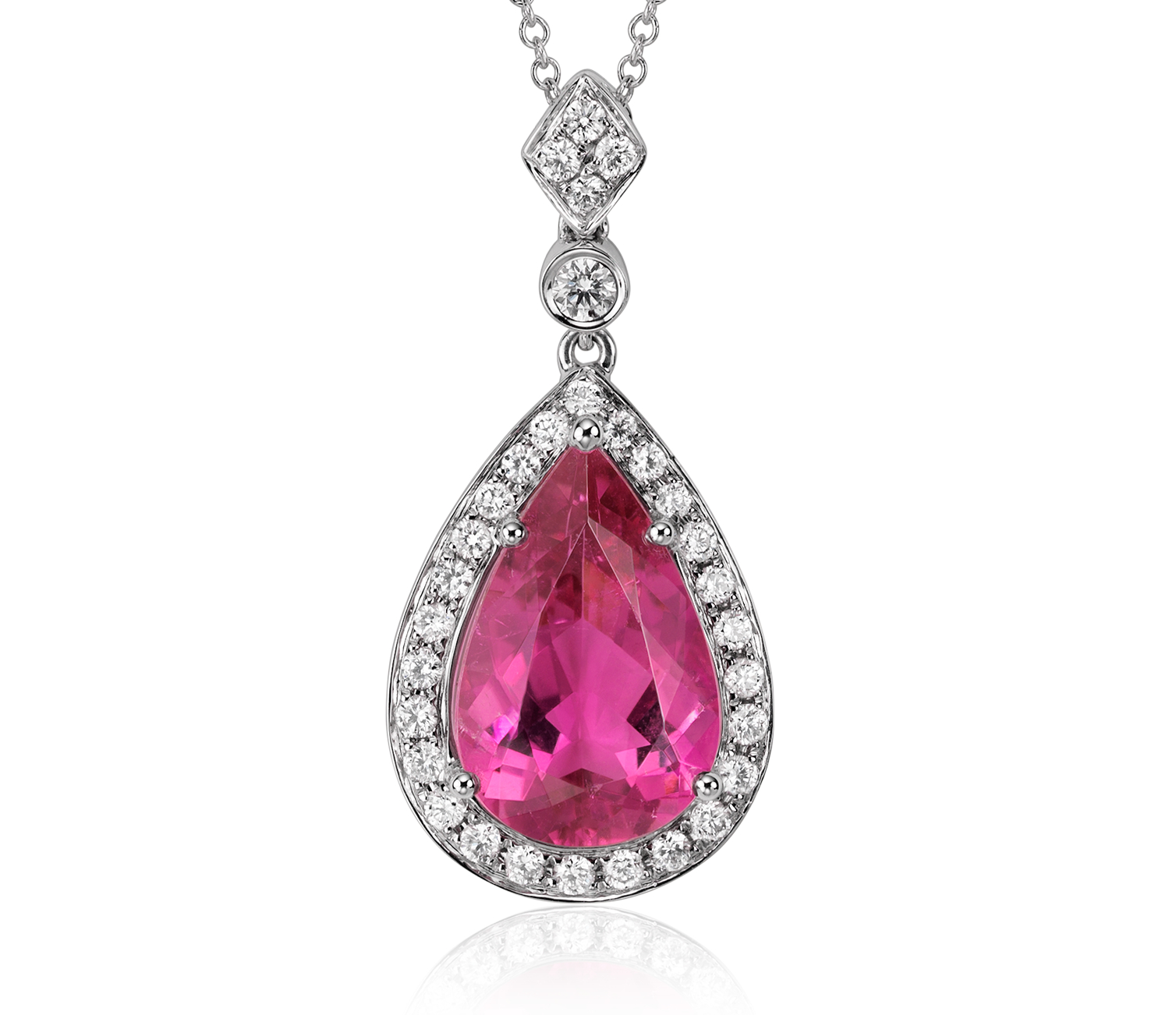 Rubellite Tourmaline and Diamond Halo Dangle Pendant in 18k White Gold (4.66 cts)