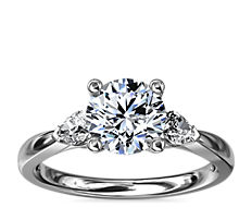 NEW Pear Sidestone Diamond Engagement Ring in 14k White Gold (1/4 ct. tw.)