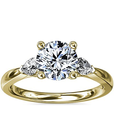 NEW Pear Sidestone Diamond Engagement Ring in 14k Yellow Gold (1/4 ct. tw.)