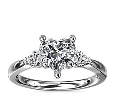 NEW Pear Sidestone Diamond Engagement Ring in 18k White Gold (1/4 ct. tw.)