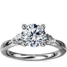 Pear Sidestone Diamond Engagement Ring in 18k White Gold (1/4 ct. tw.)