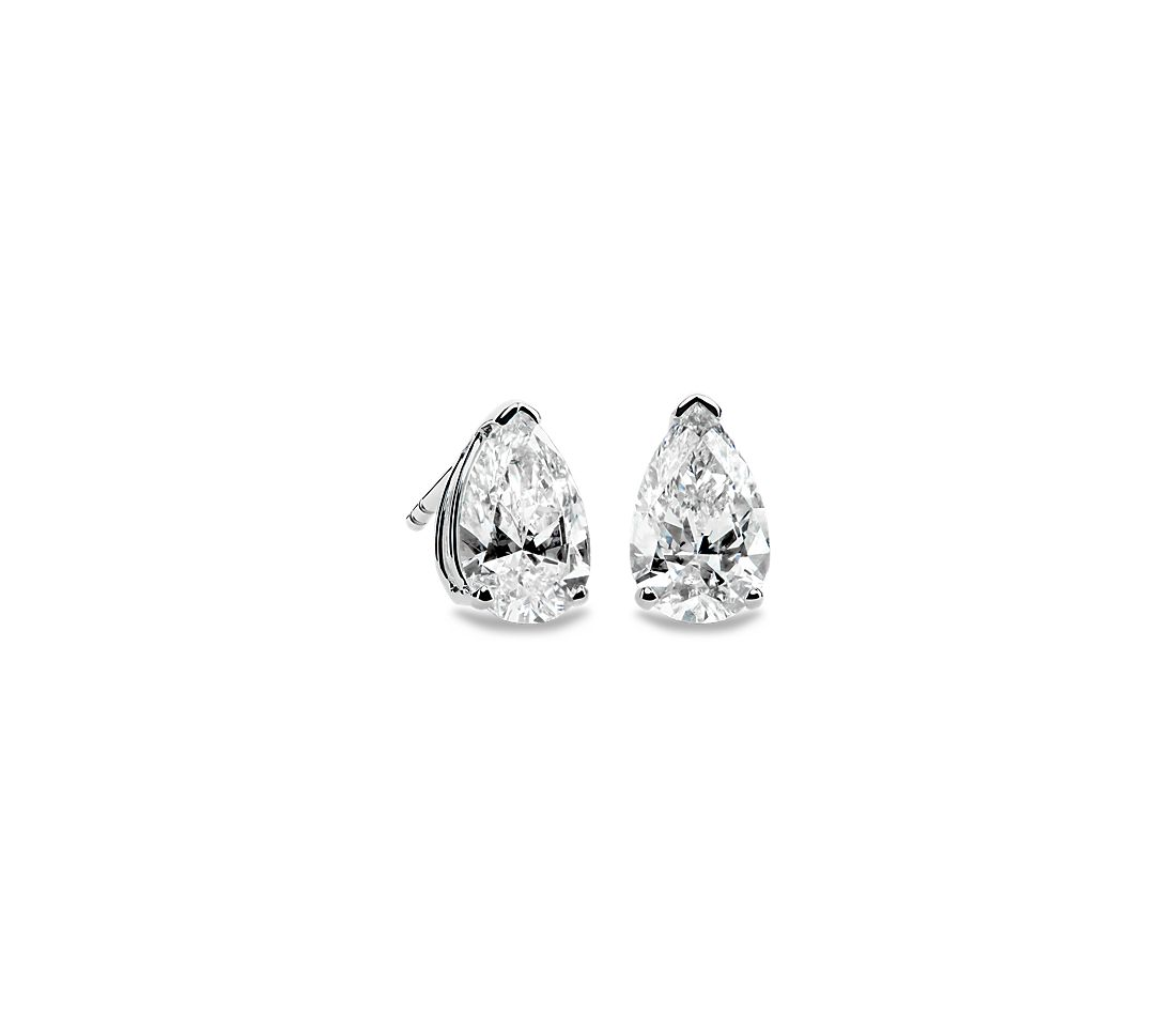 Pear Stud Earrings in 14k White Gold (2 ct. tw.)