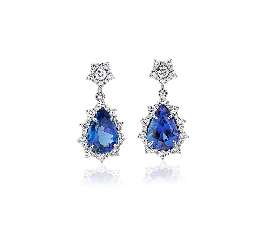Pear Tanzanite Drop Earrings with Diamond Sunburst Halo in 18k White Gold