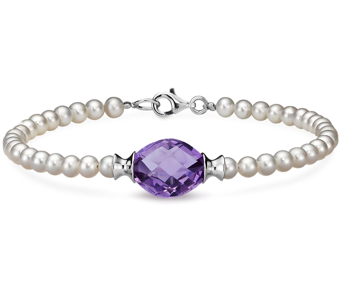 Freshwater Cultured Pearl And Amethyst Bracelet With Sterling Silver