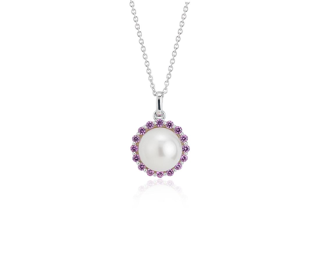Freshwater Cultured Pearl and Pink Sapphire Pendant in 14k White Gold (8mm)