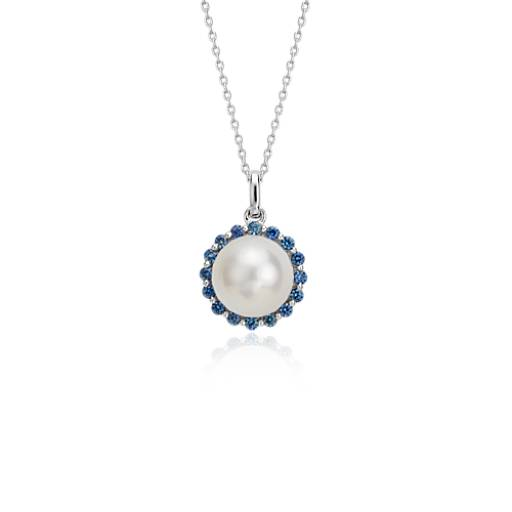 Blue Nile Freshwater Cultured Pearl and Pink Sapphire Drop Pendant in 14k White Gold (8mm) nMUzhiYE