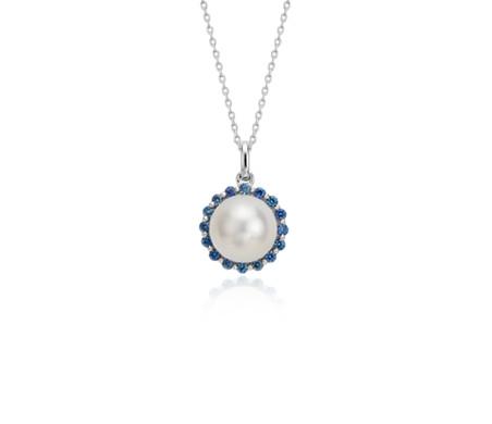14k 白金 淡水人工養殖珍珠和藍寶石吊墜<br>( 8毫米)