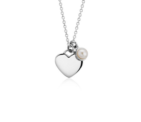 Pearl Birthstone Heart Pendant in Sterling Silver (June) (4.5mm)