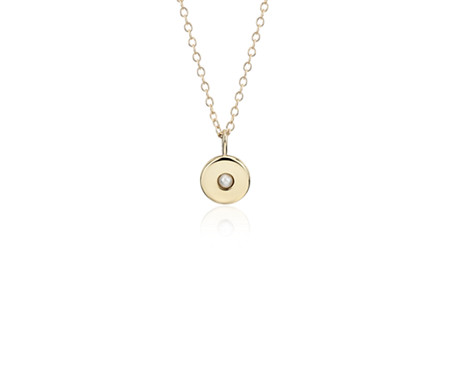 Blue Nile Mini Pearl Birthstone Charm Pendant in 14k Yellow Gold - June (2mm) jp4o8IF