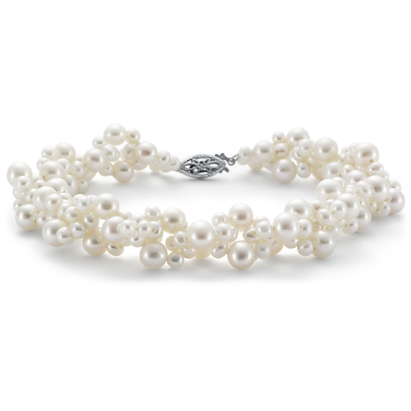 Freshwater Cultured Pearl Woven Bracelet in 14k White Gold (3-5mm