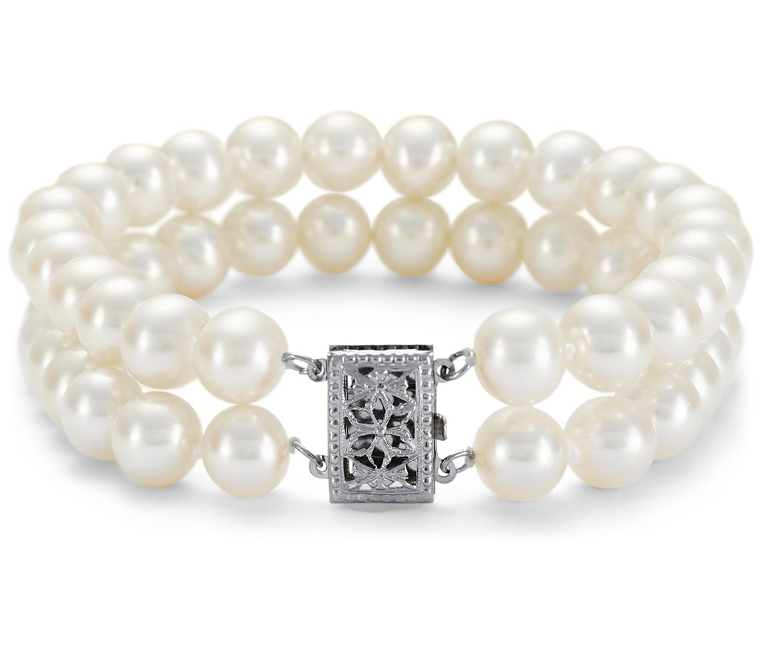 Double Strand Freshwater Cultured Pearl Bracelet In 14k