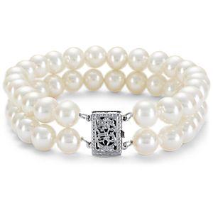 Brazalete de doble vuelta de perlas cultivadas de agua dulce en oro blanco de 14 k (7,0-7,5mm)