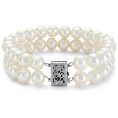 Double-Strand Freshwater Cultured Pearl Bracelet in 14k White Gold (7.0-7.5mm)