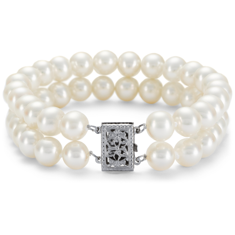 Double-Strand Freshwater Cultured Pearl Bracelet in 14k White Gol