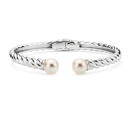 Freshwater Cultured Pearl Twisted Cuff Bracelet in Sterling Silver (7mm)