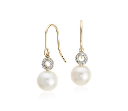 Blue Nile Freshwater Cultured Pearl Drop Earrings in 14k Yellow Gold (4-9mm) aeuzx