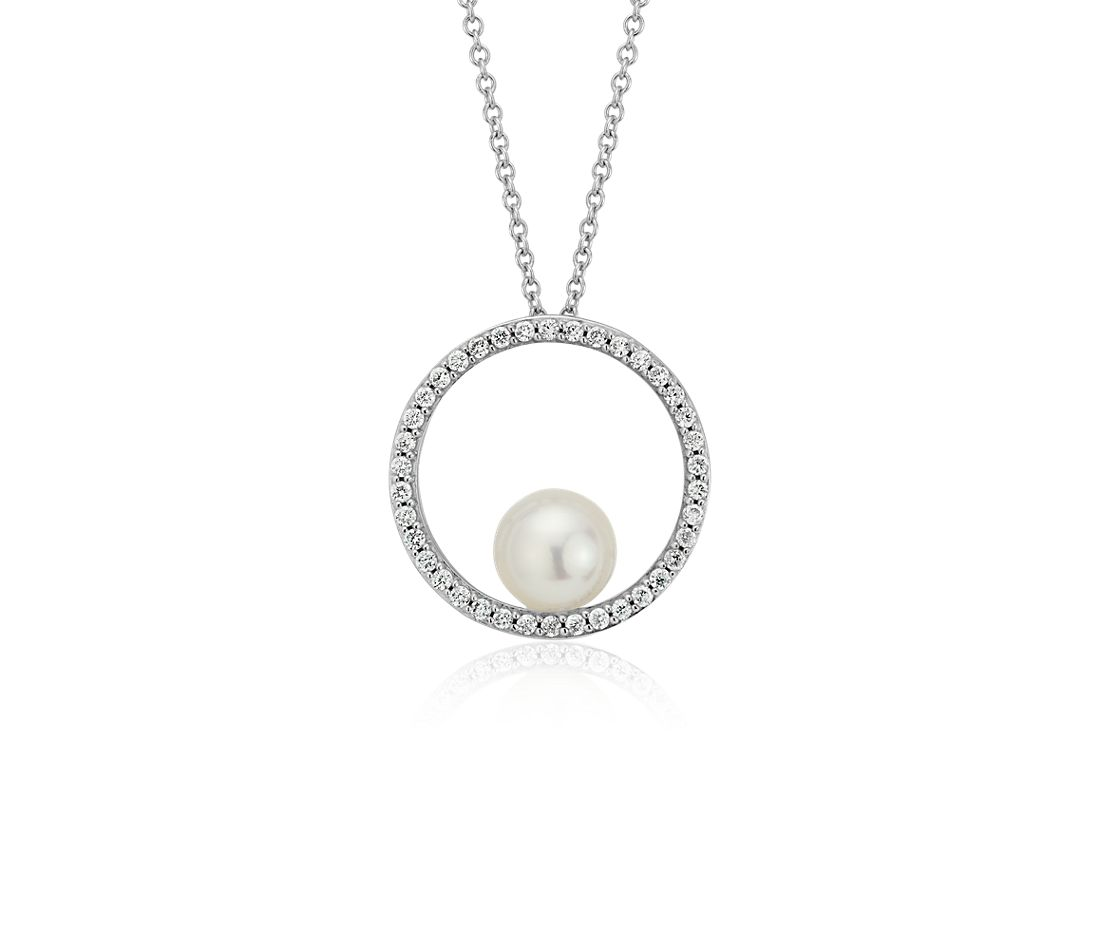 Akoya Cultured Pearl and Diamond Open Circle Pendant in 14k White Gold