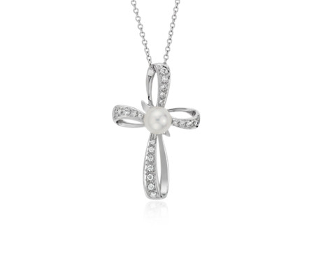 Akoya Cultured Pearl and Diamond Cross Pendant in 18k White Gold (5.5mm)