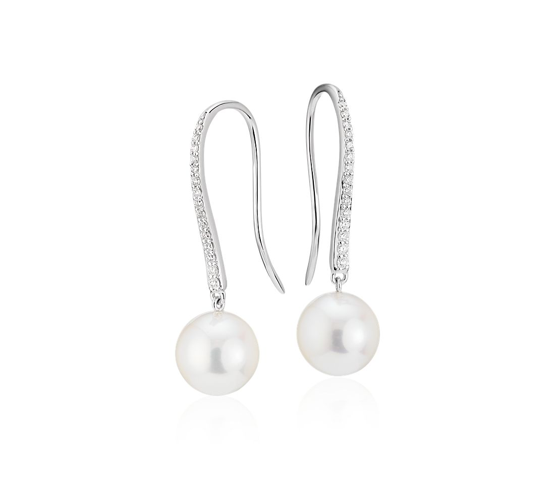 Freshwater Cultured Pearl and Diamond Drop Earrings in 14k White Gold (8.5-9mm)