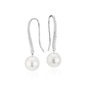 NEW Freshwater Cultured Pearl and Diamond Drop Earrings in 14k White Gold (8.5-9mm)