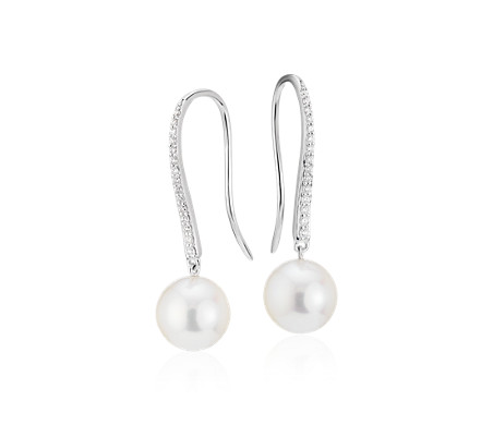Blue Nile Freshwater Cultured Pearl Line Drop Earrings in 14k Yellow Gold (6-9mm) AgnDHk