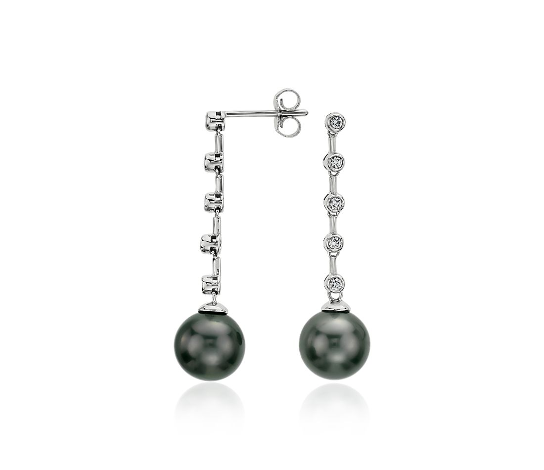 Tahitian Cultured Pearl and Diamond Drop Earrings in 18k White Gold