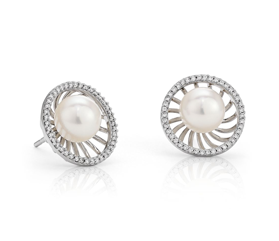Vintage-Inspired Freshwater Cultured Pearl and Diamond Earrings in 18k White Gold (8mm)