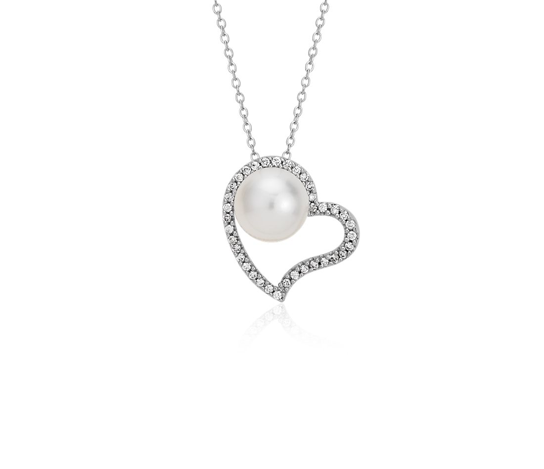 Freshwater cultured pearl and diamond heart pendant in 14k white freshwater cultured pearl and diamond heart pendant in 14k white gold 8mm aloadofball Images