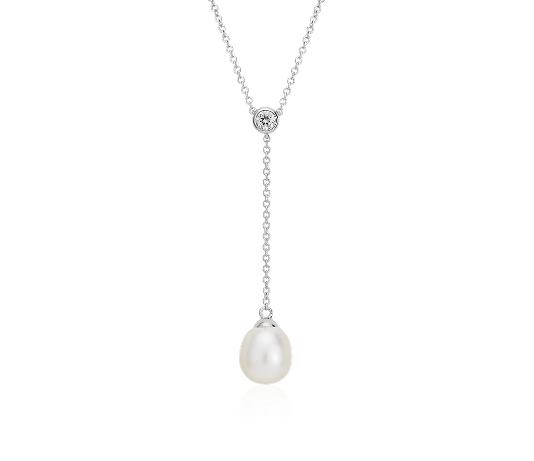 Collier en Y diamant et perles de culture d'eau douce en or blanc 14 carats (7,5 mm)
