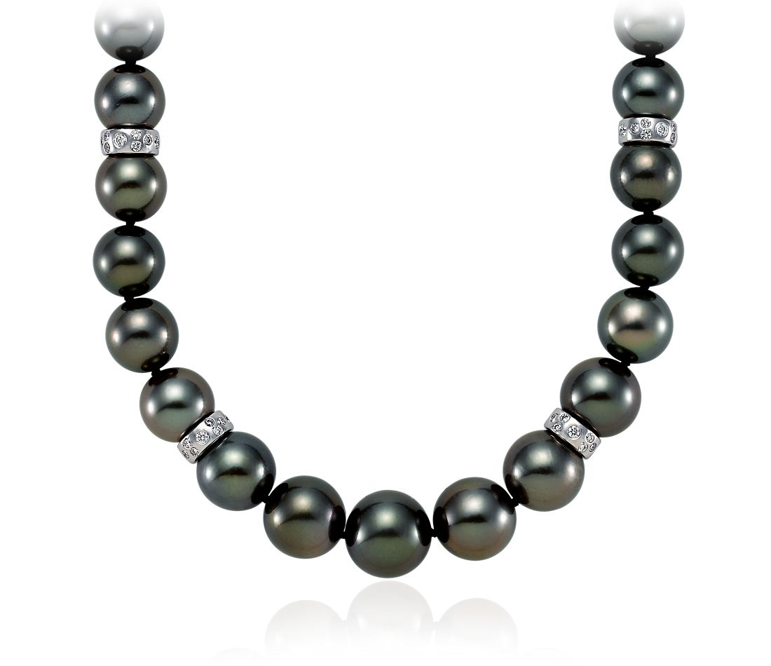 Tahitian Cultured Pearl and Diamond Necklace in 18k White Gold (9-11.5mm)