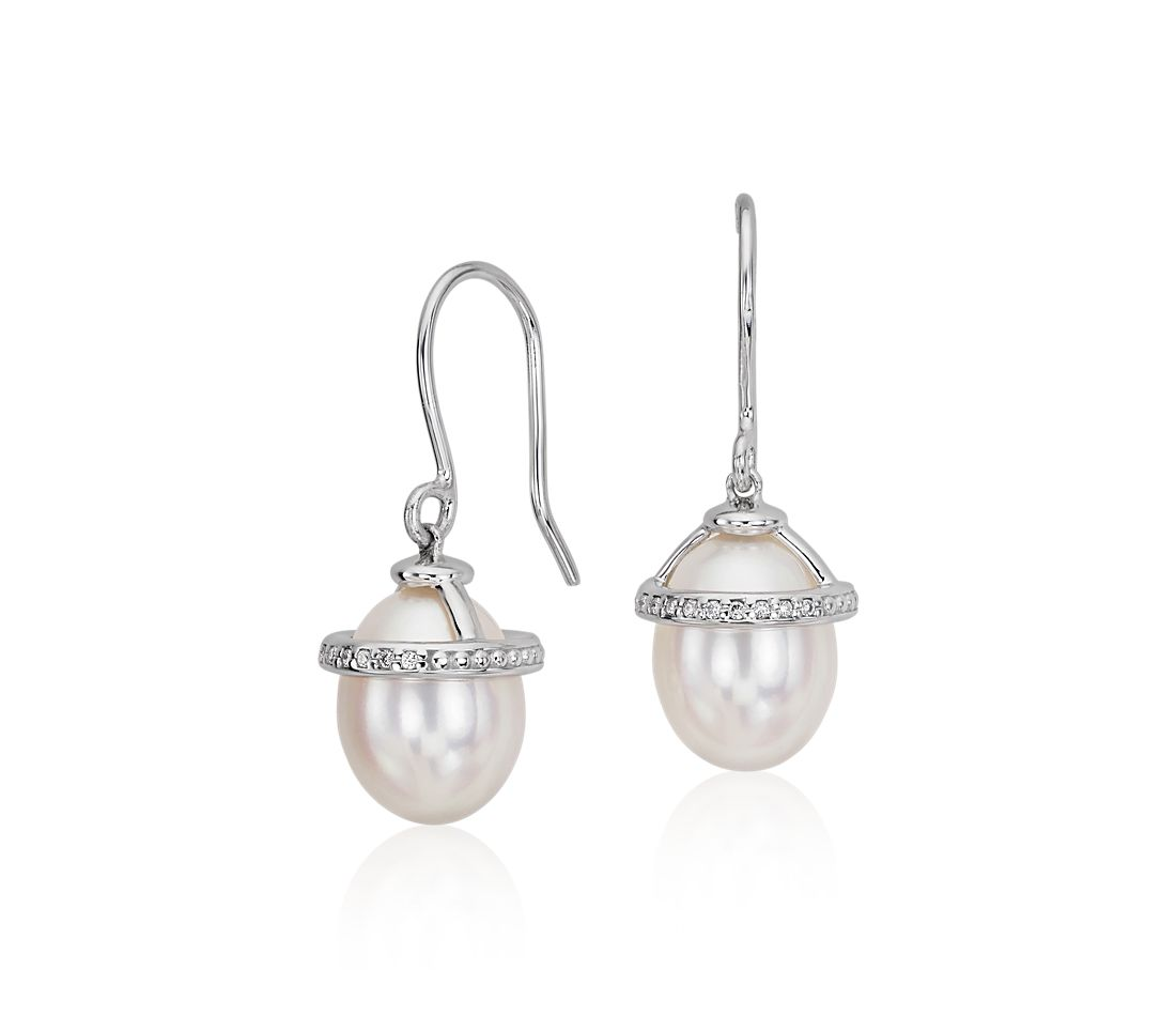White Freshwater Pearl and Diamond Drop Earrings in 14k White Gold (7mm)